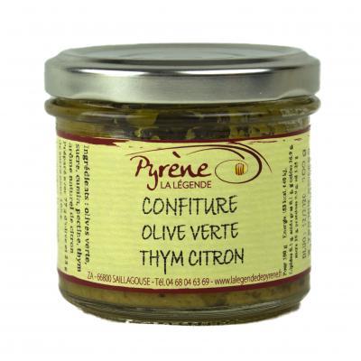 Confiture d'olive verte thym & citron